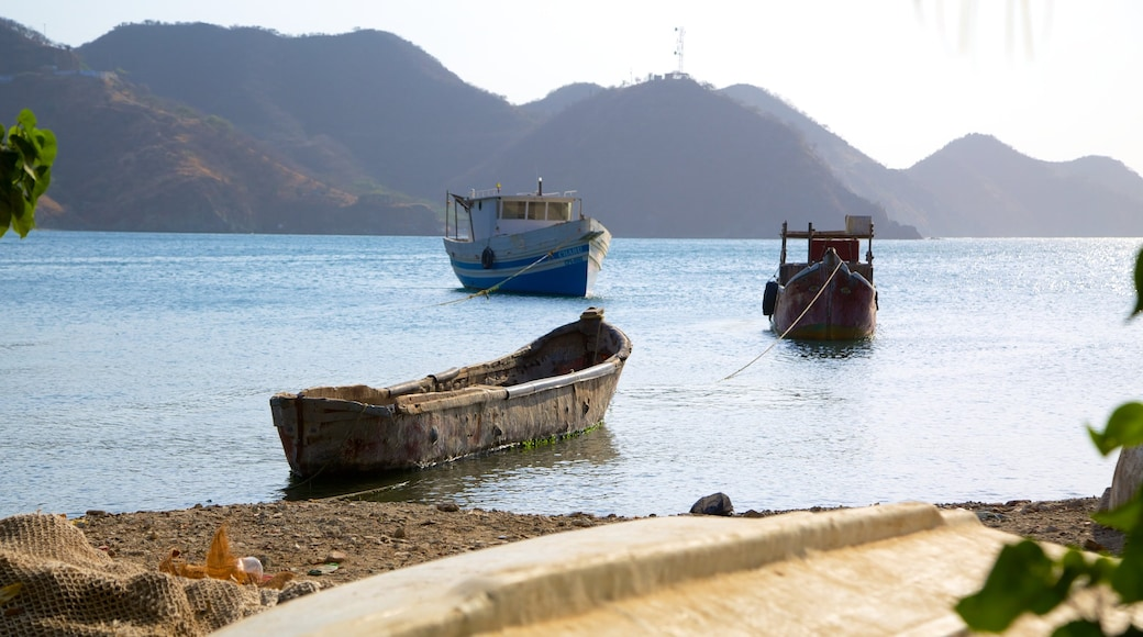 Taganga Beach which includes a bay or harbor and boating