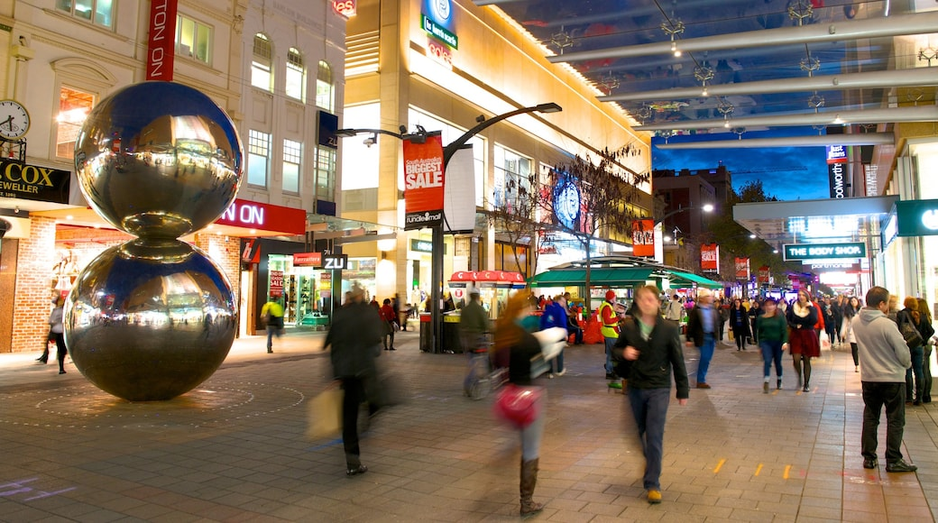 Rundle Mall which includes outdoor art, a city and night scenes