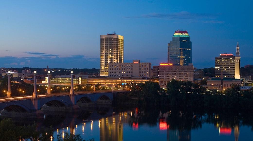 Springfield ofreciendo una ciudad, un puente y un río o arroyo