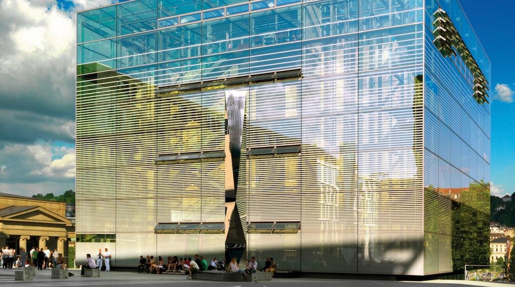 슈투트가르트 미술관 을 보여주는 야외 예술, 광장 과 현대적 건축