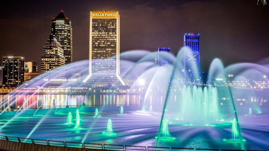 Friendship Park which includes night scenes, skyline and a city