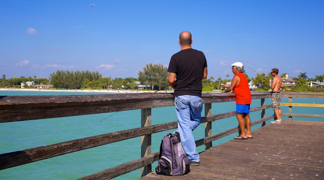 Naples Pier which includes general coastal views, views and fishing