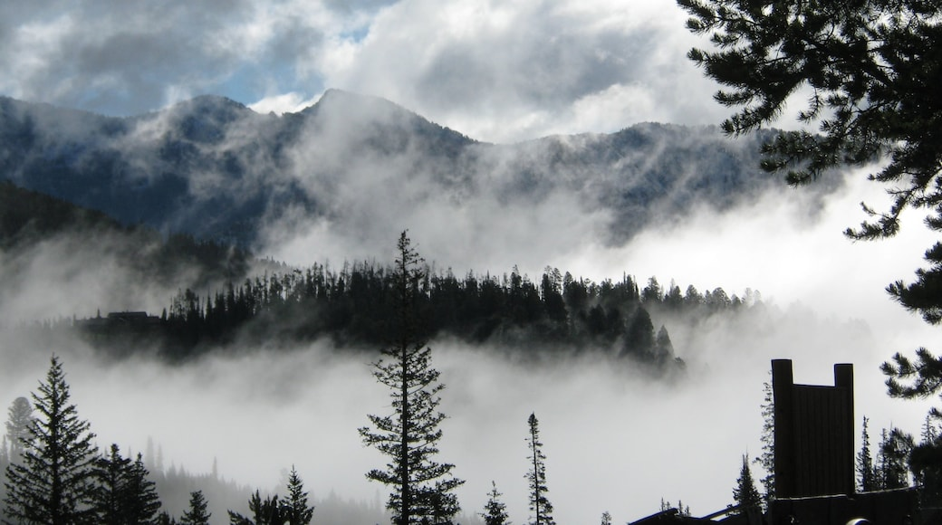 Big Sky Resort which includes landscape views, mist or fog and mountains