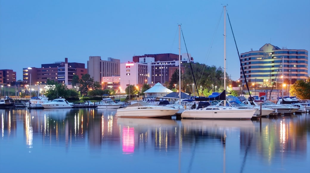 Erie which includes night scenes, a marina and a lake or waterhole