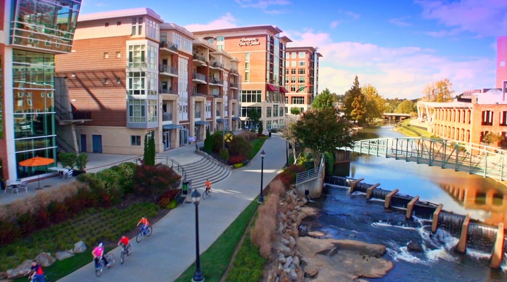 Greenville which includes a river or creek, a city and a bridge