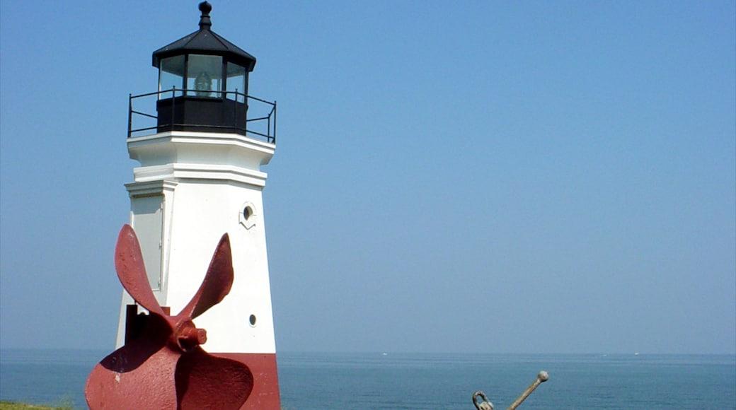 Sandusky featuring general coastal views and a lighthouse