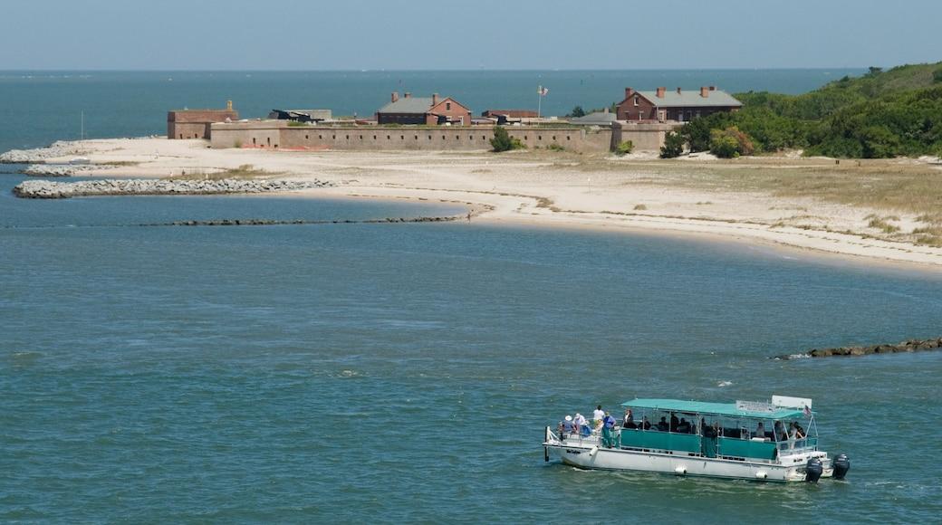 Amelia Island featuring a sandy beach, a coastal town and a bay or harbor