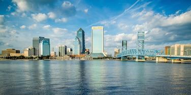 Centre-ville de Jacksonville qui includes silhouettes urbaines, ville et rivière ou ruisseau