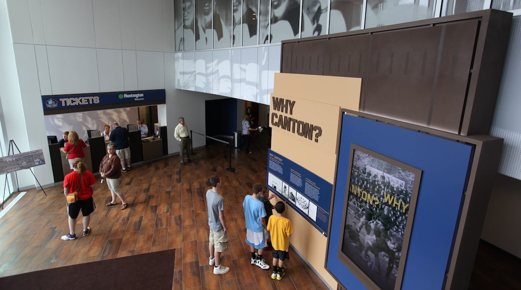 Pro Football Hall of Fame featuring interior views