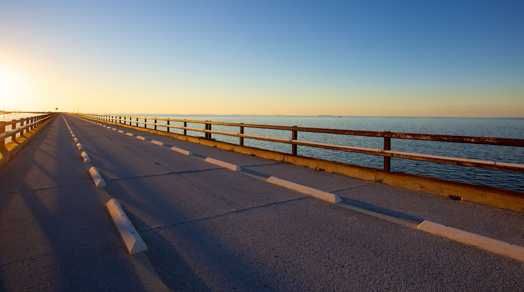 Seven Mile Bridge showing a sunset and a bridge