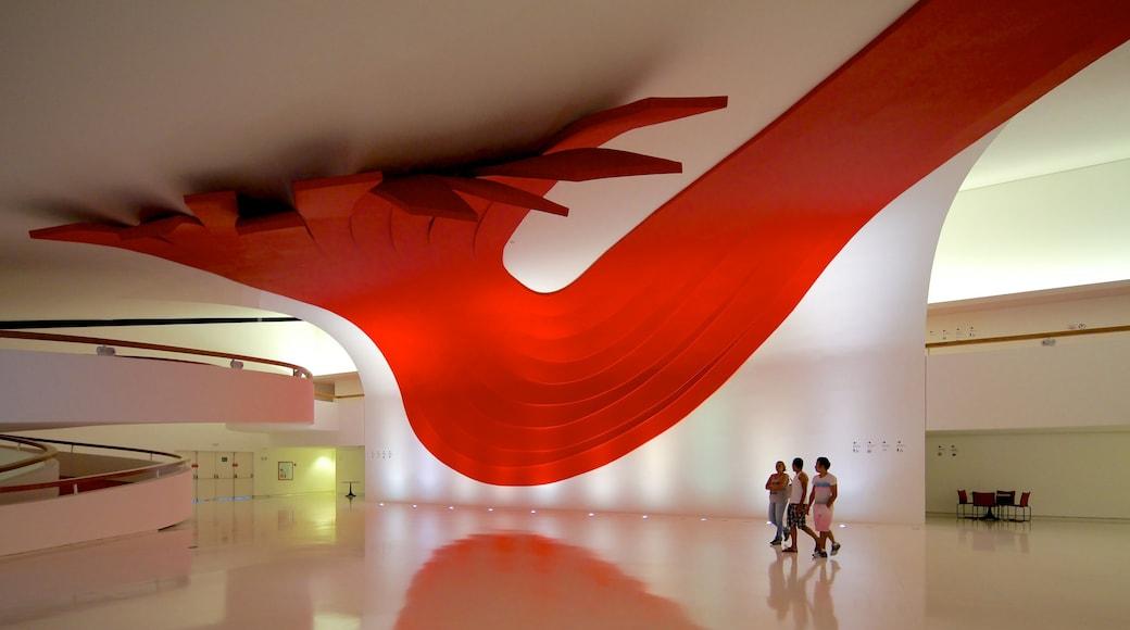 Ibirapuera Auditorium featuring art, modern architecture and interior views