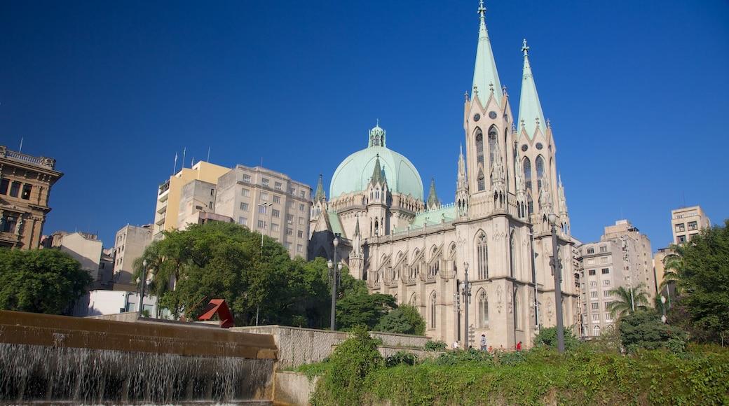 Sao Paulo-katedralen som inkluderar religiösa aspekter och en kyrka eller katedral