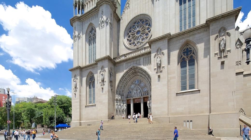 Sao Paulo-katedralen som visar en kyrka eller katedral, religiösa element och historisk arkitektur