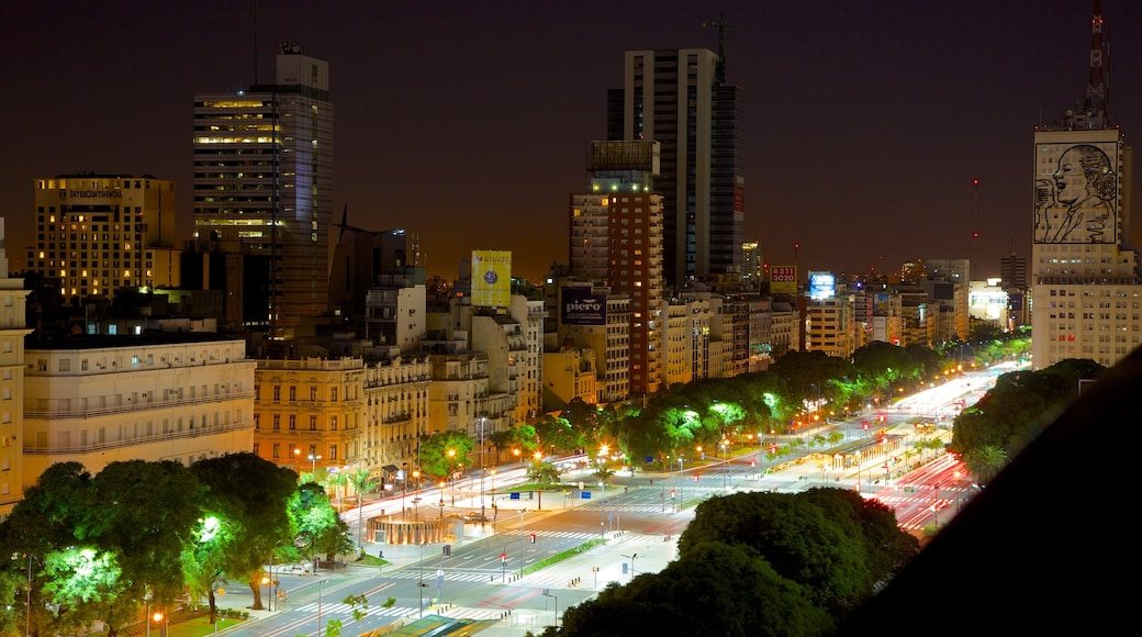 Buenos Aires which includes night scenes, a city and a skyscraper