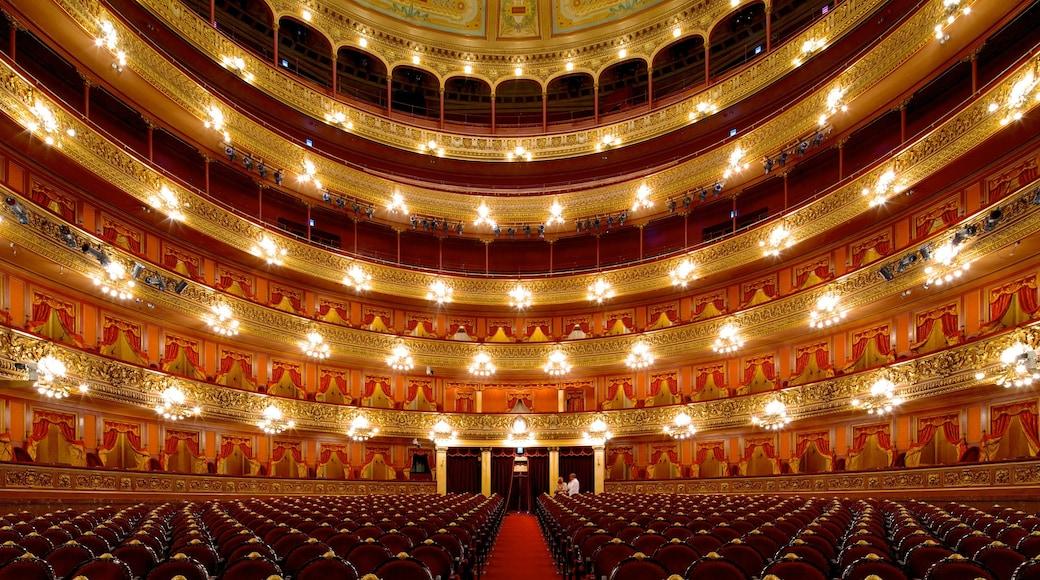 Teatro Colon featuring theatre scenes and interior views