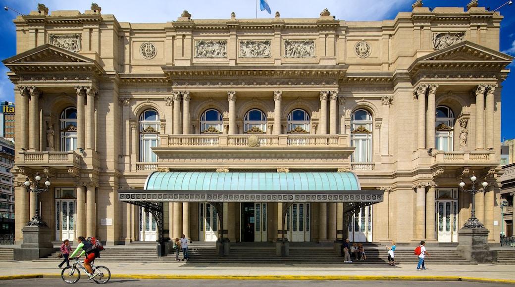 Teatro Colon which includes heritage architecture and street scenes