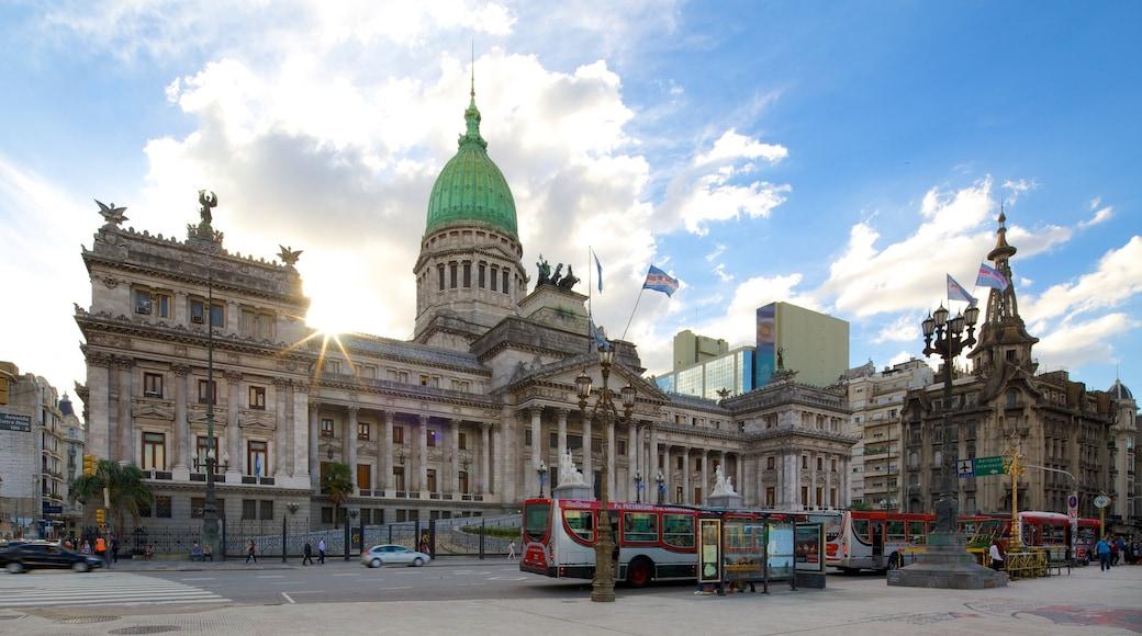Argentiinan kansalliskongressi johon kuuluu vanha arkkitehtuuri ja hallintorakennus