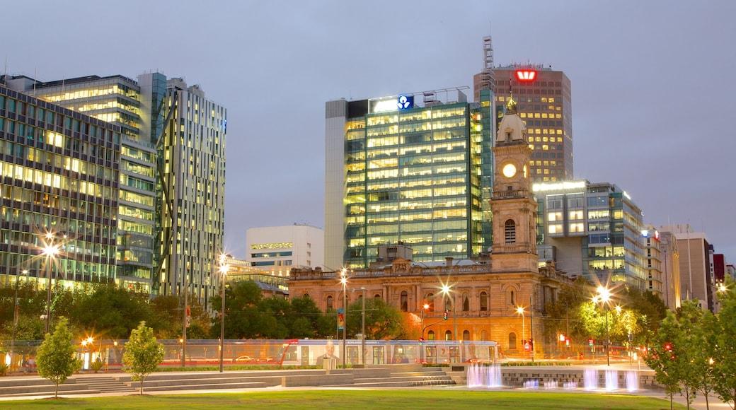 Victoria Square showing modern architecture, night scenes and a city