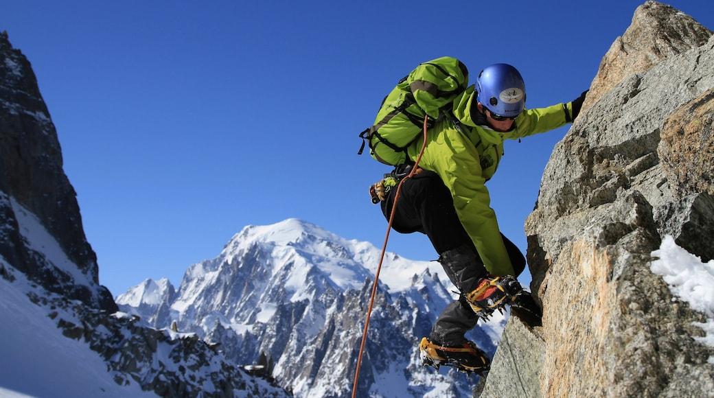 Chamonix-Mont-Blanc ofreciendo montañas, nieve y escalada