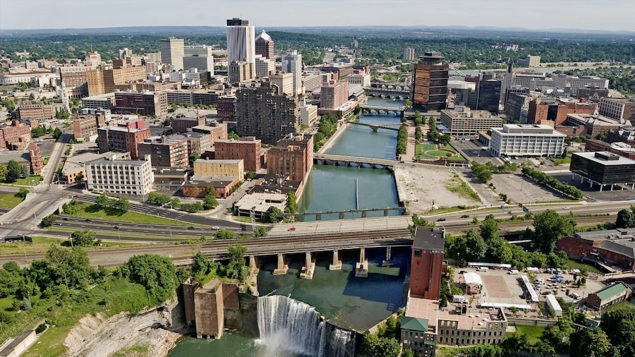 Rochester which includes a river or creek, a city and a bridge