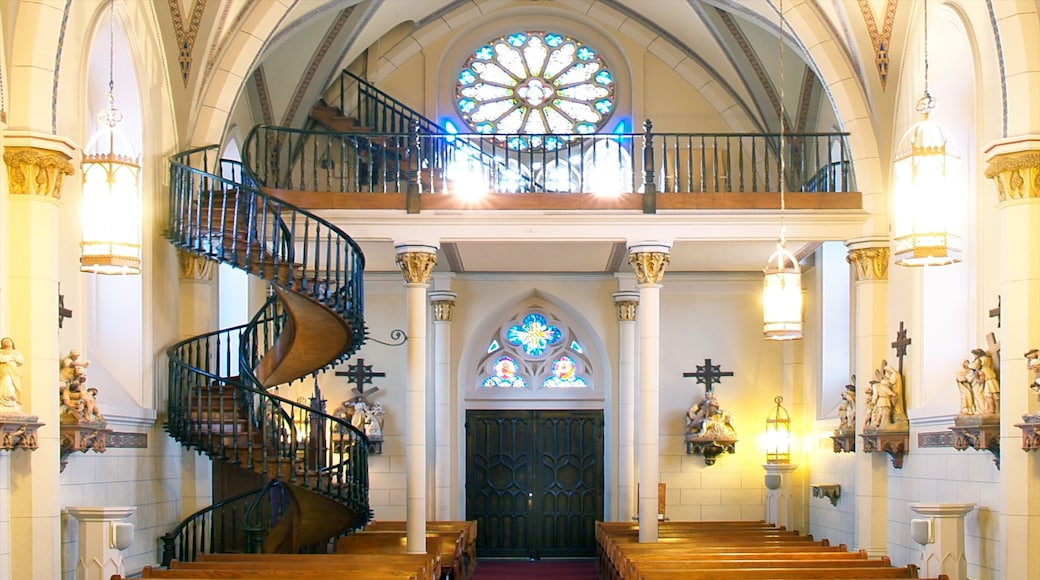 Loretto Chapel showing a church or cathedral, heritage architecture and interior views