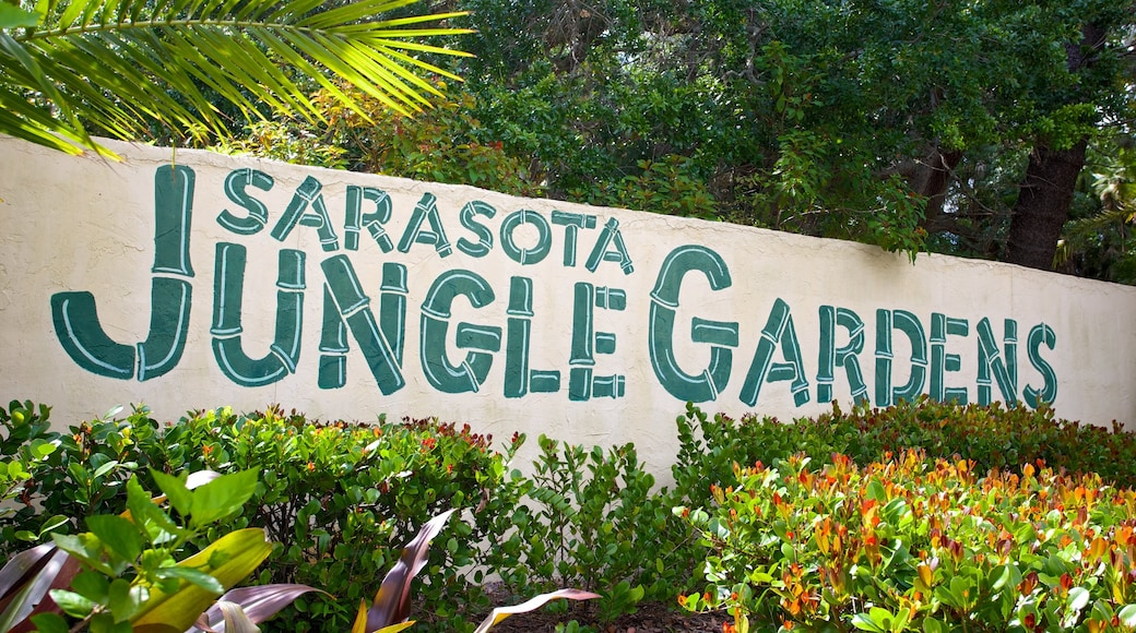 Sarasota Jungle Gardens which includes signage and a park