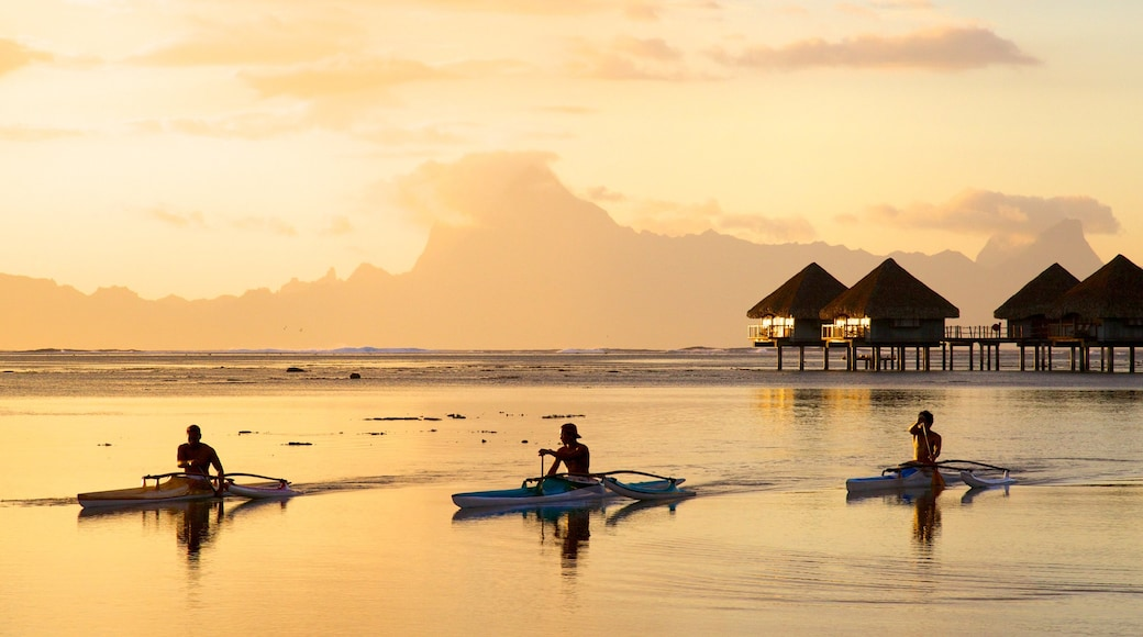 Tahiti which includes kayaking or canoeing, general coastal views and a sunset