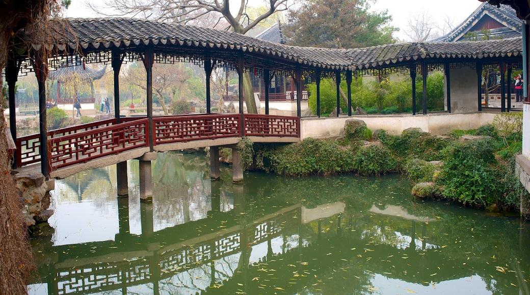 拙政園 呈现出 池塘 和 橋樑