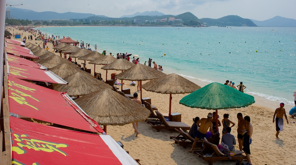 Dadongdai Beach showing general coastal views and a sandy beach as well as a large group of people
