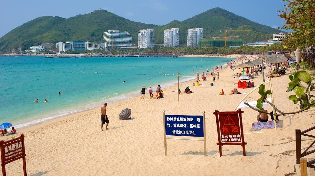 Dadongdai Beach showing signage, a coastal town and a sandy beach
