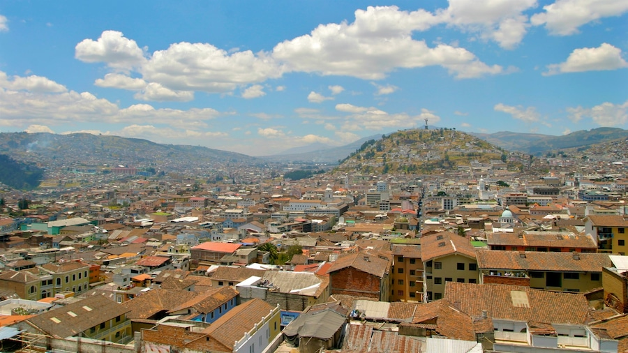 Quito showing landscape views and a city