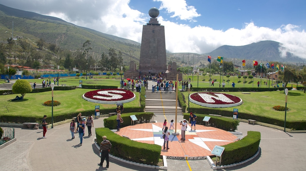 Mitad del Mundo Monument which includes a monument, a square or plaza and a garden