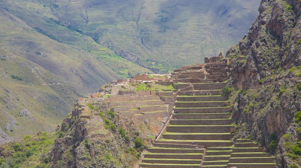 Ollantaytambo mostrando vistas de paisajes y una ruina