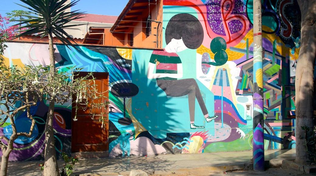 Barranco mostrando arte ao ar livre e cenas de rua