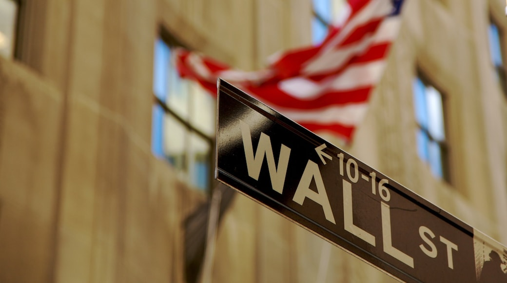 Wall Street - Financial District which includes signage