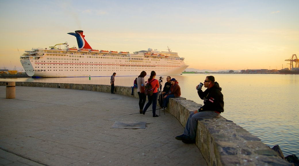 Ensenada showing general coastal views, a sunset and cruising