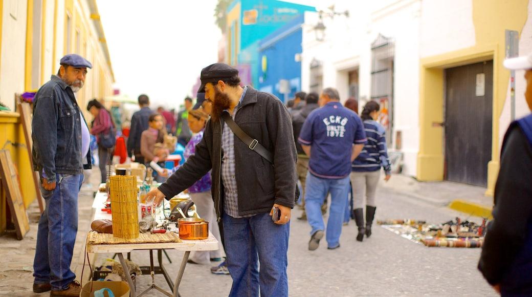 Barrio Antiguo ofreciendo una ciudad y escenas urbanas y también un pequeño grupo de personas