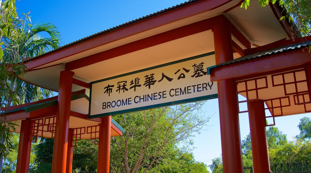 Broome which includes religious elements, signage and a cemetery