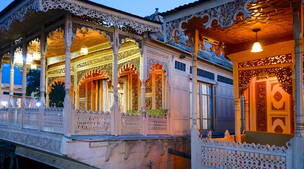 Jammu and Kashmir showing heritage architecture, night scenes and a temple or place of worship
