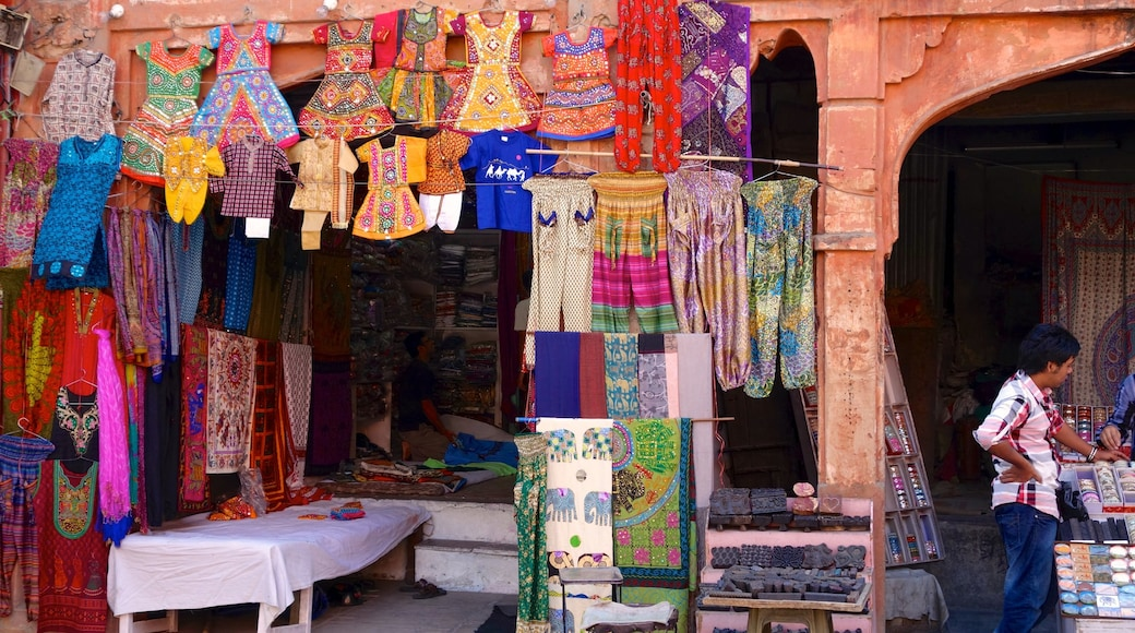 Jaipur featuring markets and a city as well as an individual male