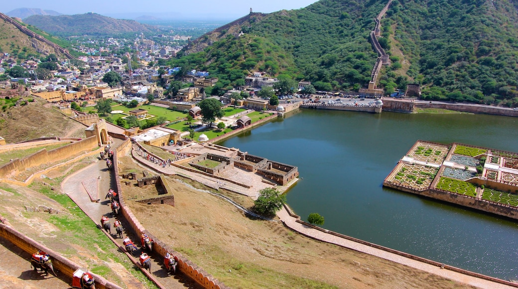 Amber Fort featuring landscape views, a city and a lake or waterhole