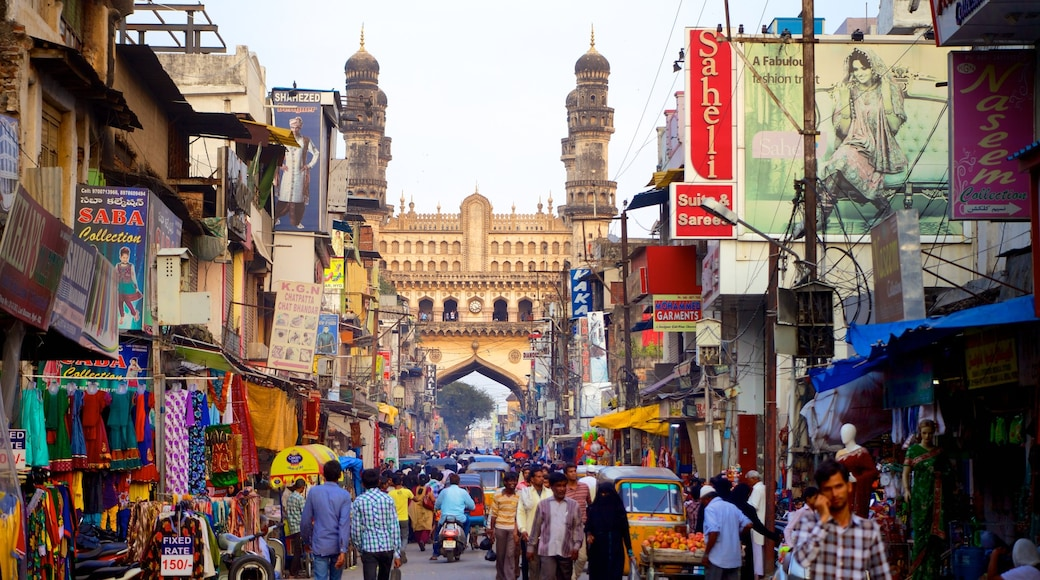 Charminar showing markets, street scenes and heritage architecture