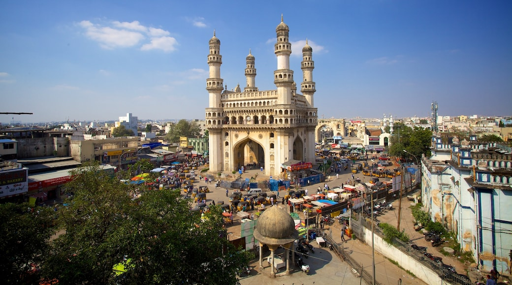 Charminar featuring heritage architecture, a monument and a square or plaza