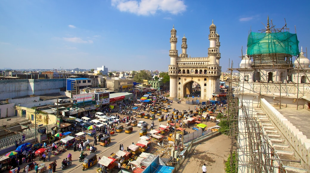 Charminar which includes a square or plaza, a memorial and heritage architecture