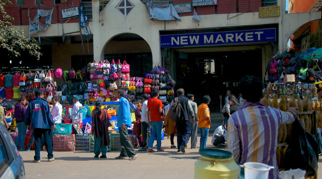 New Market showing markets, a city and signage