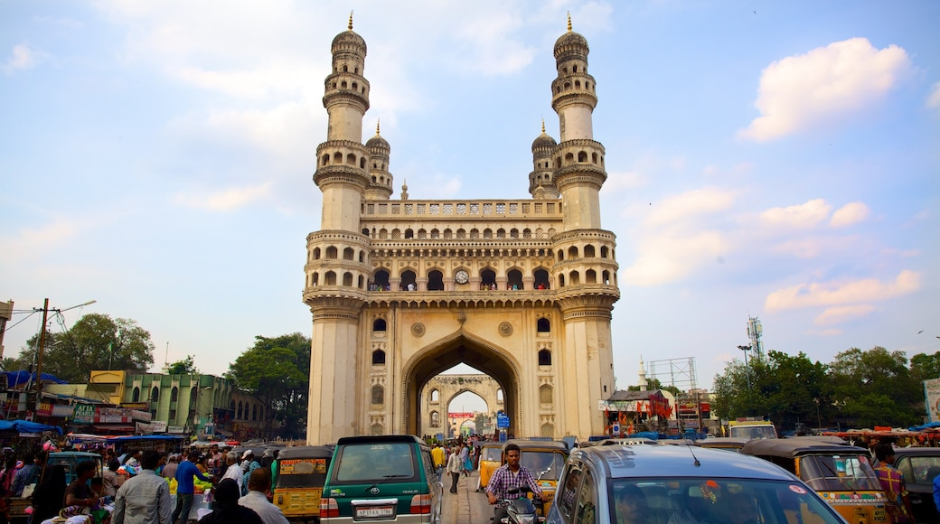 Charminar which includes a city, street scenes and heritage architecture