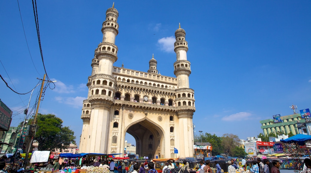Charminar featuring heritage architecture, a mosque and a city