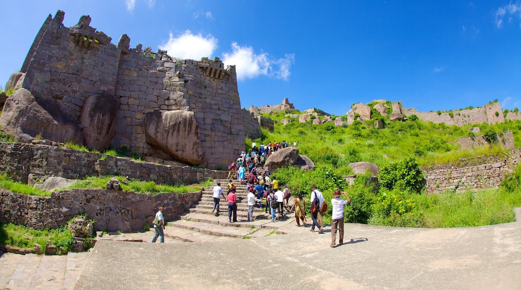Golconda Fort featuring landscape views, a castle and a ruin