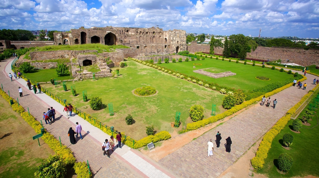 Golconda Fort showing heritage elements and a garden