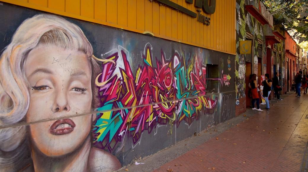 Bellavista which includes outdoor art and street scenes
